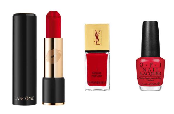 czerwona szminka lancome: czerwony lakier YSL: czerwony lakier OPI.jpg